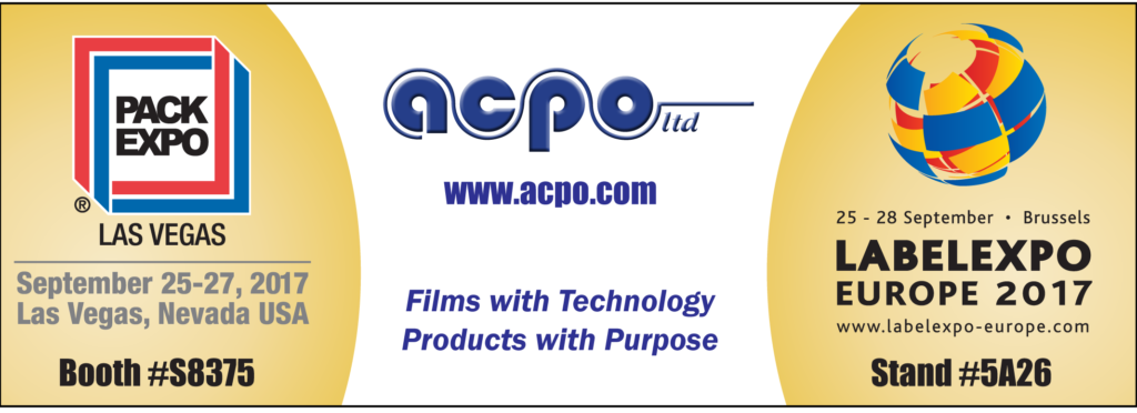 Visit the acpo booths at LabelExpo – Brussels or PackExpo – Las